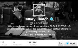 Twitter bio di Hillary Clinton