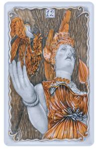 Atena, nella carta gioco illustrata da Momò Calascibetta